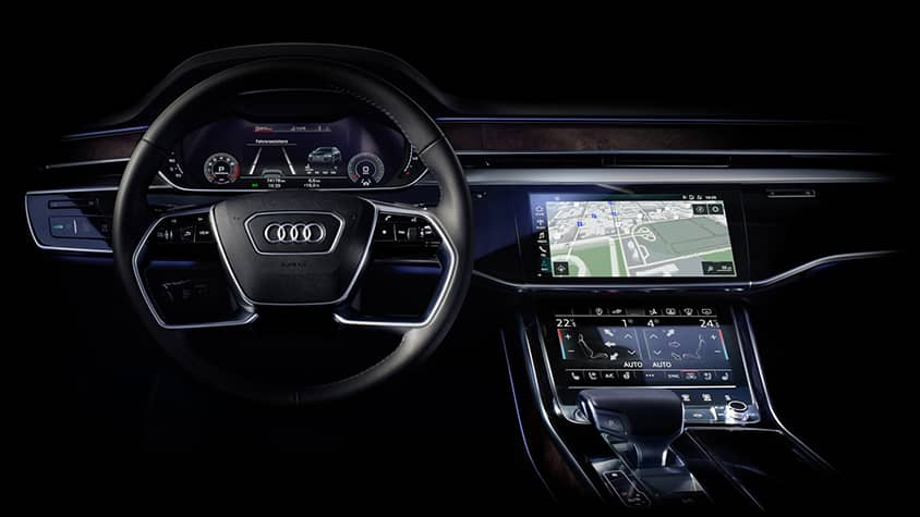 New in the Audi A8: intuitive touch displays with haptic feedback.