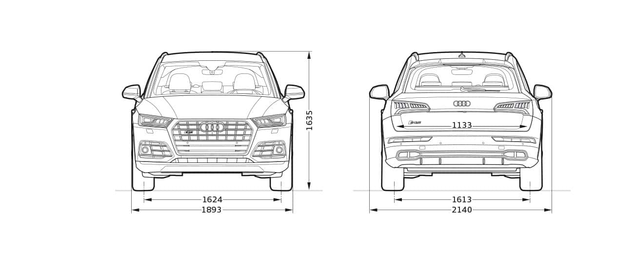 Audi Q5 Dimensions >> Front And Rearview Dimensions Audi Sq5 Q5 Audi